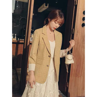 【新品】韓国風 黄色テーラージャケット(テーラードジャケット)