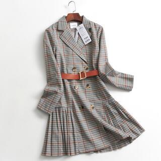 【新品】韓国風 スーツワンピース ベルト付(ひざ丈ワンピース)