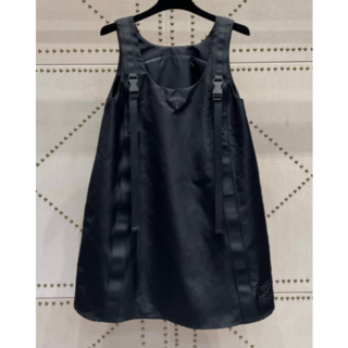 PRADA - PRADA プラダ ドレス ミニ ノースリーブ フレア ロゴ ブラック