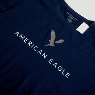 American Eagle - アメリカンイーグル/US:XXL/ネイビー /グラフィックロゴ半袖ソフトTシャツ