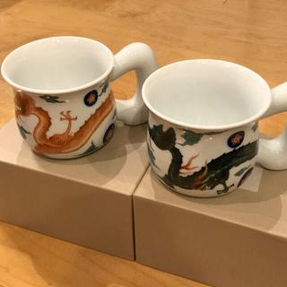 【新品】深川製磁 阿吽 龍 ペアモーニングカップ(グラス/カップ)