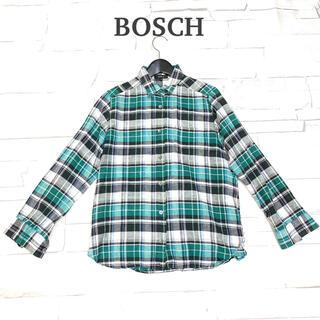 チェックシャツ 美品【BOSCH】M 綿麻 グリーン