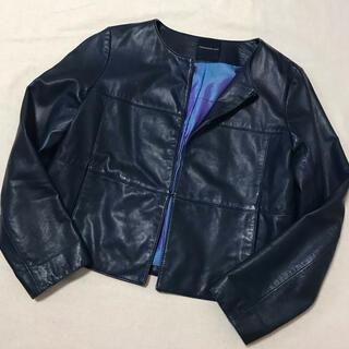TOMORROWLAND - トゥモローランド ラムレザーノーカラージャケット ネイビー 濃紺 サイズ38