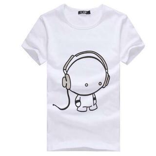 人気 半袖 Tシャツ メンズ レディース ヘッドフォンデザイン L 白