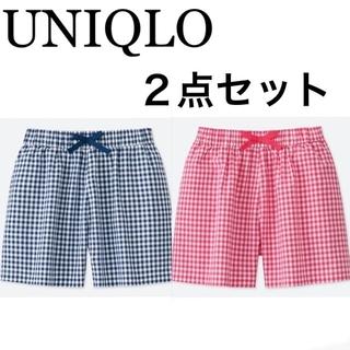 UNIQLO - 1回着☆ユニクロフレアショートパンツ2点セット2着130チェックジーユーGAP