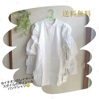 【今季新作・1点もの】ボリュームスリーブバンドカラーシャツ オフホワイト M
