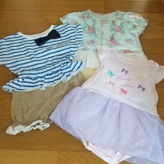ニシキベビー(Nishiki Baby)の80サイズ sweet girl 半袖カバーオール2枚&グレコのセット(カバーオール)