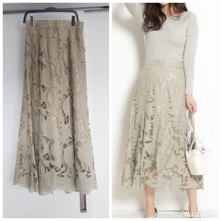 JUSGLITTY - ジャスグリッティー レース刺繍フレアスカート
