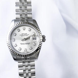 ロレックス(ROLEX)の【仕上済】ロレックス 10P デイトジャスト ダイヤ レディース 腕時計(腕時計)