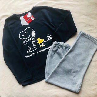 スヌーピー(SNOOPY)の新品未使用110cm長袖パジャマ男女OKスヌーピー春秋用紺色×グレー(パジャマ)