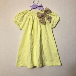 アンバー(Amber)のamberHOME イエローワンピース チュニック 花柄(Tシャツ/カットソー)
