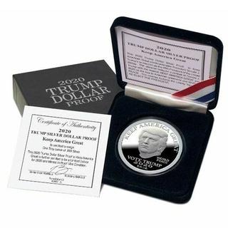 2020 トランプ 第45代 アメリカ 大統領 銀貨 プルーフ 箱と証明書付き