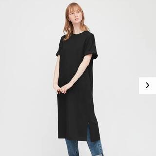 UNIQLO - ユニクロ マーセライズコットン Tシャツ ワンピース ワンピ 黒 ブラック M