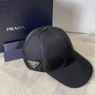 PRADA - プラダ ベースボールキャップ 帽子 三角プレート ナイロン ブラック M 未使用