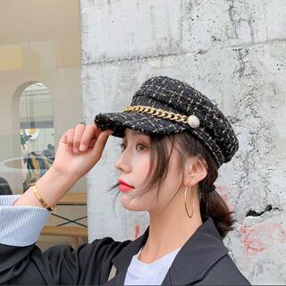 ザラ(ZARA)のツイード キャスケット 韓国 黒 Zara 帽子(キャスケット)