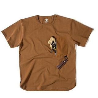 ワイルドシングス(WILDTHINGS)の【新品】グリップスワニー ギアポケットTシャツ  Lサイズ ブラウン 半袖(Tシャツ/カットソー(半袖/袖なし))