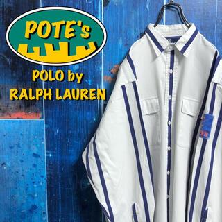 POLO RALPH LAUREN - 【ポロバイラルフローレン】ロゴサイドパッチダブルポケットストライプシャツ 90s