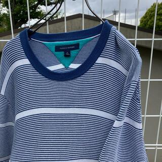 トミーヒルフィガー(TOMMY HILFIGER)のTOMMY HILFIGER ボーダー コットンニット 青×白 ゆるダボ(ニット/セーター)