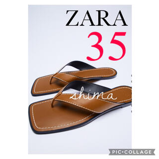 ZARA - ZARA トップステッチ&スクエアトゥ フラットサンダル トングサンダル