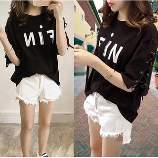 ~3L 袖レースアップフロントロゴTシャツ黒(Tシャツ(半袖/袖なし))