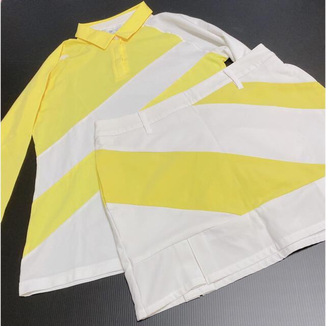 DESCENTE(デサント)のデサントゴルフ セットアップ 2点セット 長袖ポロシャツ スカート イエロー スポーツ/アウトドアのゴルフ(ウエア)の商品写真