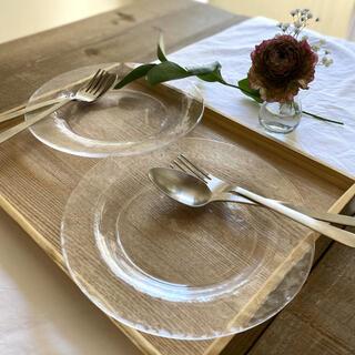 ガラス製プレート[2皿セット] レンジ使用可 サラダ皿 取り皿