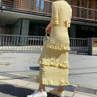 BEAUTY&YOUTH UNITED ARROWS - 2021ss MEER. shirring frilled dress メーア