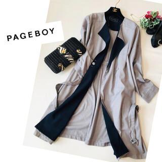 PAGEBOY - トレンチコート ノーカラー レディース  ロング丈 ジャケット春スプリングコート