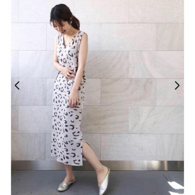 gelato pique(ジェラートピケ)のレア⭐️新品♡レオパードジャガードドレス♡グレー♡ジェラートピケ レディースのルームウェア/パジャマ(ルームウェア)の商品写真