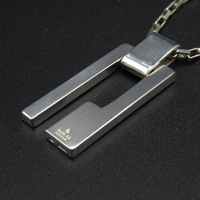 Gucci(グッチ)のGUCCI メンズ ネックレス プレート sv925 スクエアープレート Gロゴ メンズのアクセサリー(ネックレス)の商品写真