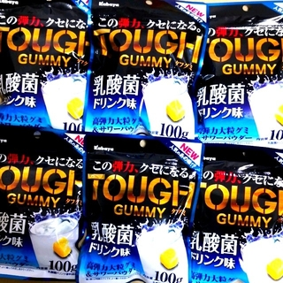 【6袋】カバヤ タフグミ乳酸菌ドリンク味    ハードグミ(菓子/デザート)