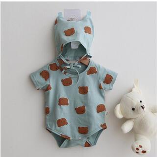 くまさん 総柄 ロンパース ボンネット 韓国子供服 パジャマ 夏 新品未使用