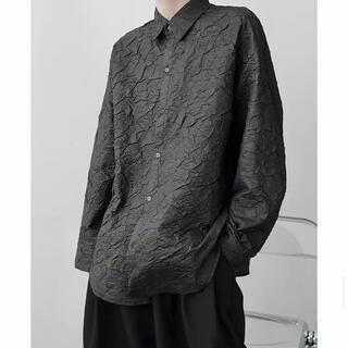 【シックな花柄に香る大人感】モード系 長袖シャツ シワ加工 ビッグ ゴシック 黒