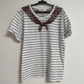 オゾック(OZOC)のスカーフプリントのボーダーTシャツ(Tシャツ(半袖/袖なし))