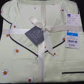 GU - GU ジーユー サテンパジャマ マーガレット 花柄 ライトグリーンM