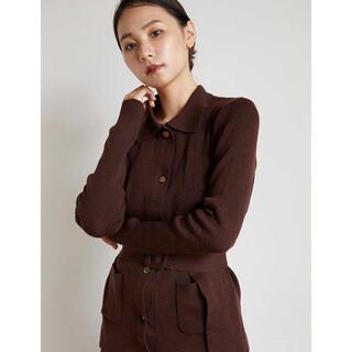 RANDEBOO  Rib knit cardigan (Brown)(カーディガン)