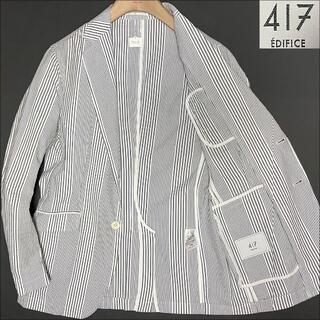 エディフィス(EDIFICE)のJ3013 美品 エディフィス シアサッカー テーラードジャケット 水色 S(テーラードジャケット)