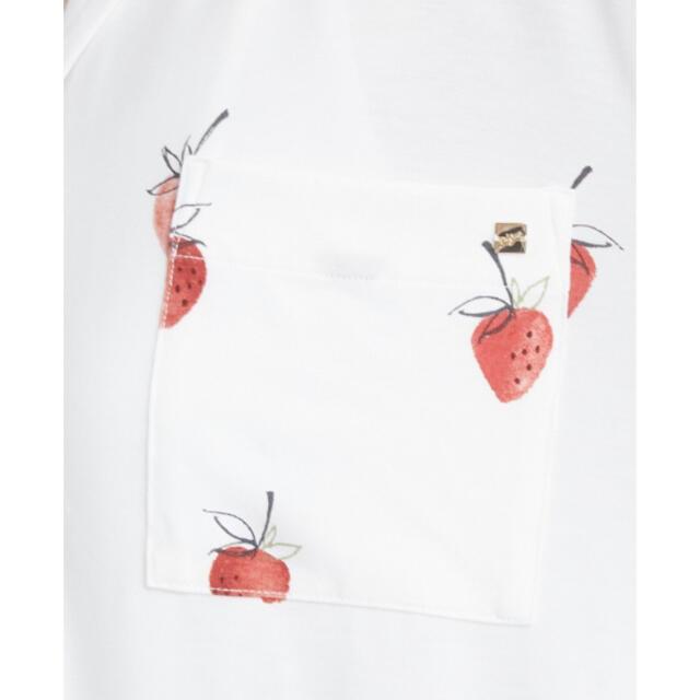 gelato pique(ジェラートピケ)のジェラートピケ ストロベリーモチーフシャツドレス オフホワイト レディースのルームウェア/パジャマ(ルームウェア)の商品写真