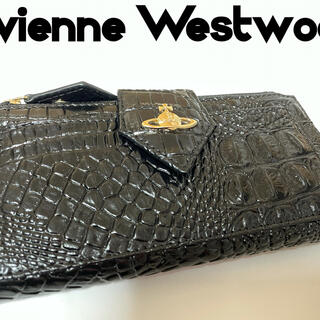 Vivienne Westwood - ヴィヴィアンウエストウッド 新品 長財布 クロコ調 クロコ ひし形 ブラック 黒