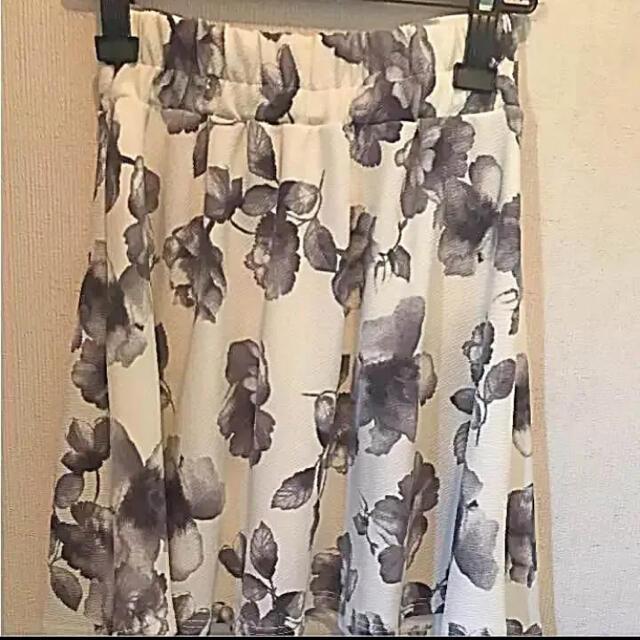 フォーエブリー ウエストリボン花柄スカート 春物スカート フレアスカート レディースのスカート(ミニスカート)の商品写真