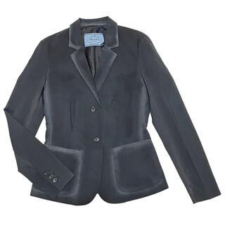 プラダ(PRADA)の新品プラダPRADA薄手ウールテーラードジャケット チャコールグレー#38#40(テーラードジャケット)