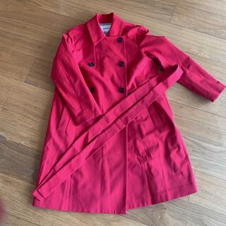 エンフォルド(ENFOLD)のENFOLD 赤とピンクの間のお色です ベルト付きコート(ロングコート)
