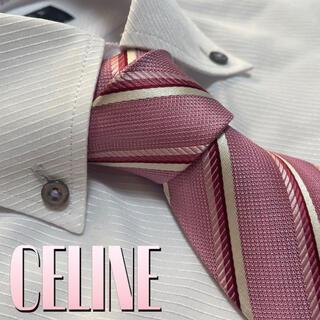 celine - セリーヌ ネクタイ CELINE  ストライプ柄 光沢 厚手