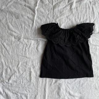 GU ブラック 黒 レース襟 カットソーブラウス 韓国こども服風 110