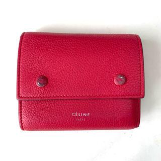 celine - CELINE バイカラー 財布 ミニウォレット 三つ折り ピンクxグレー