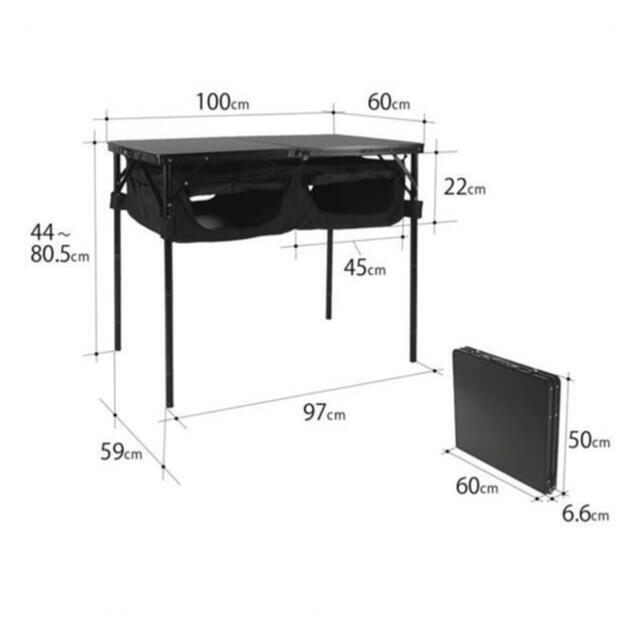 DOPPELGANGER(ドッペルギャンガー)の⭐︎新品⭐︎DOD⭐︎TB4-685-BK⭐︎グッドラックテーブル⭐︎ブラック☆ スポーツ/アウトドアのアウトドア(テーブル/チェア)の商品写真