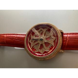 ガガミラノ(GaGa MILANO)のブリラミコ 腕時計 スワロフスキー 赤 ギラギラ キラキラ ぐるぐる時計 (腕時計)