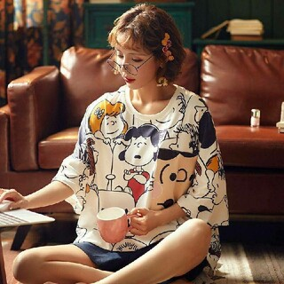 スヌーピー ルームウェア パジャマ レディース ツーピース Tシャツー かわいい
