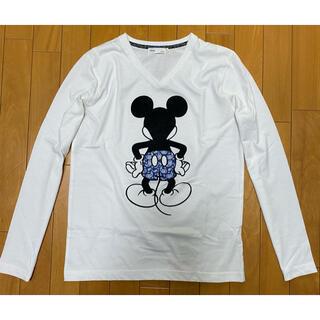 ディズニー(Disney)のディズニー ミッキーマウス Vネック長袖Tシャツ VネックロンT(S)ホワイト白(Tシャツ/カットソー(七分/長袖))