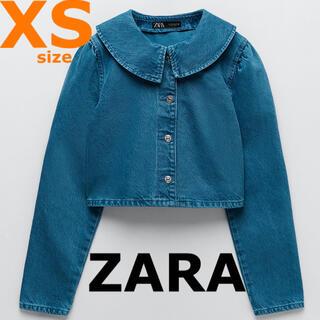 ZARA - 1点再入荷【ZARA】XS クロップドデニムジャケット ピーターパン襟 Gジャン